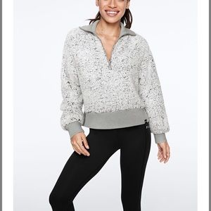Clay Gray Frosted Sherpa PINK Half Zip